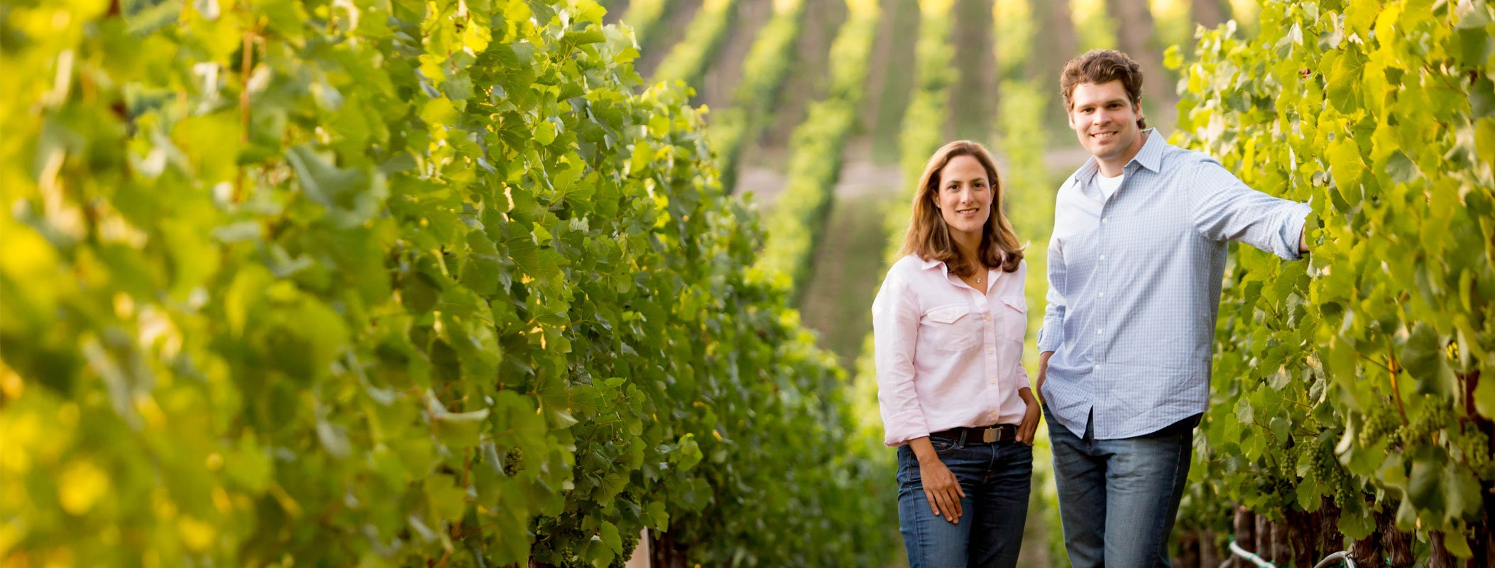 Bibiana and Jeff Pisoni in the Wine Vineyards.