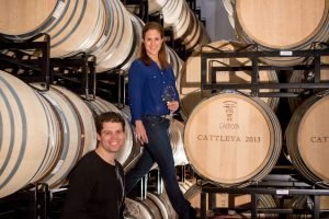 Bibiana and Jeff Tasting Wine From the Barrel