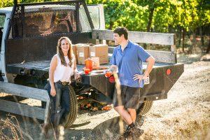 Bibiana and Jeff Drink Coffee in the Vineyard